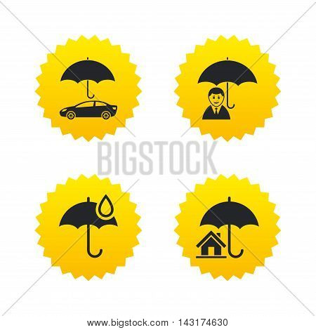Life, Real estate or Home insurance icons. Umbrella with water drop symbol. Car protection sign. Yellow stars labels with flat icons. Vector