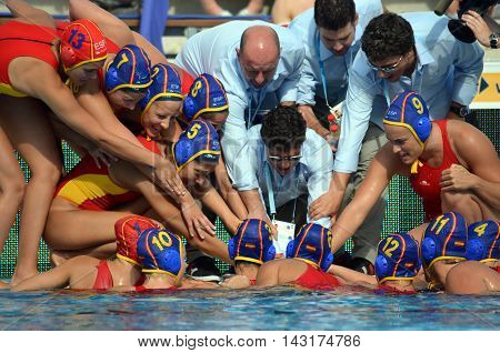 Budapest, Hungary - Jul 16, 2014. Spanish battle-cry. The Waterpolo European Championship was held in Alfred Hajos Swimming Centre in 2014.
