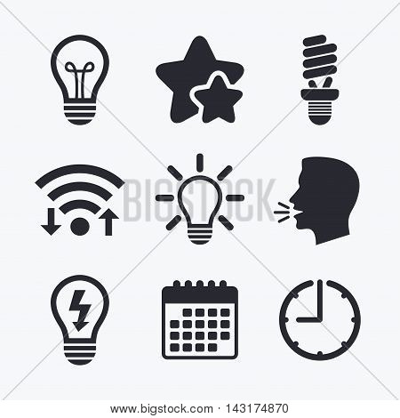 Light lamp icons. Fluorescent lamp bulb symbols. Energy saving. Idea and success sign. Wifi internet, favorite stars, calendar and clock. Talking head. Vector