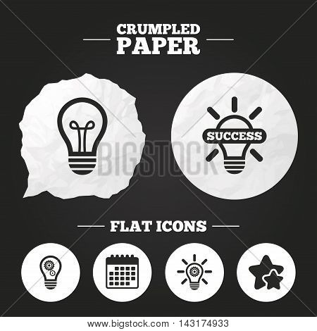 Crumpled paper speech bubble. Light lamp icons. Lamp bulb with cogwheel gear symbols. Idea and success sign. Paper button. Vector