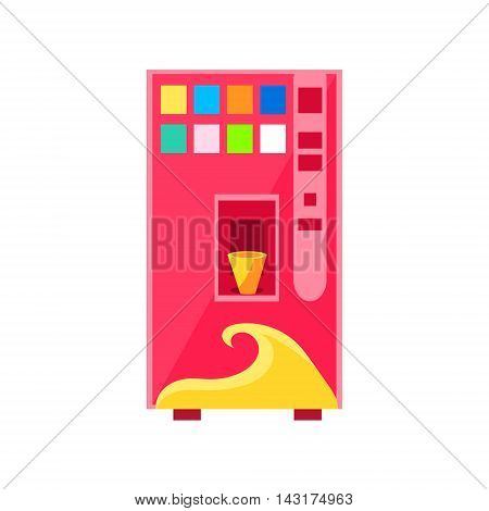 Sweet Drinks Vending Machine Design In Primitive Bright Cartoon Flat Vector Style Isolated On White Background