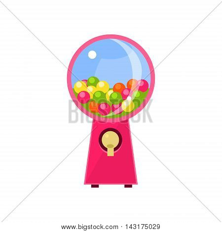 Chewing Gum Vending Machine Design In Primitive Bright Cartoon Flat Vector Style Isolated On White Background