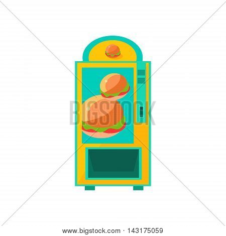Burger Vending Machine Design In Primitive Bright Cartoon Flat Vector Style Isolated On White Background