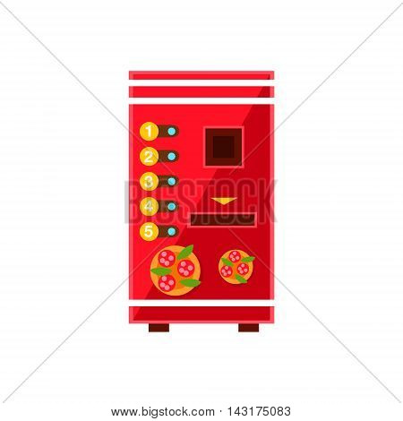 Pizza Vending Machine Design In Primitive Bright Cartoon Flat Vector Style Isolated On White Background