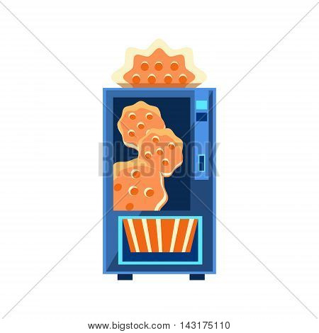 Cracker Vending Machine Design In Primitive Bright Cartoon Flat Vector Style Isolated On White Background
