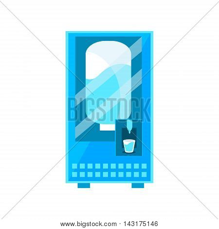 Clean Water Vending Machine Design In Primitive Bright Cartoon Flat Vector Style Isolated On White Background