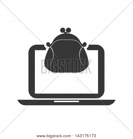 purse laptop money financial commerce icon. Flat and Isolated design. Vector illustration