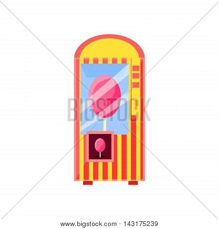 Cotton Candy Vending Machine Design In Primitive Bright Cartoon Flat Vector Style Isolated On White Background