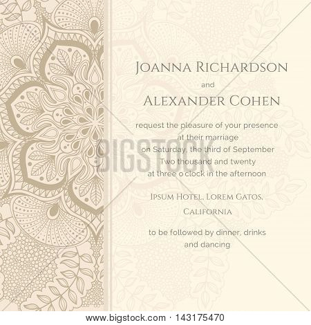 Graphic wedding invitation with pattern a la peacock's tail. Background in light brown colors. Can be used for different kinds of invitations