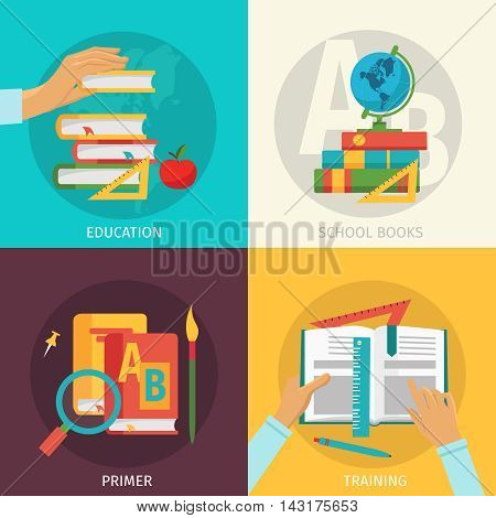 Four square colored school books icon set with descriptions of education school books primer and training vector illustration