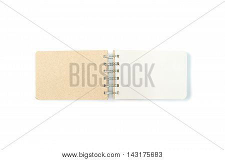 Closeup surface brown note book with white blank space in page isolated on white background with copy space
