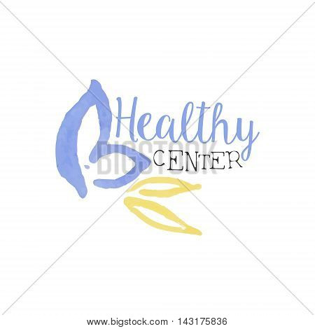 Healthy Center Beauty Promo Sign Watercolor Stylized Hand Drawn Logo With Text On White Background