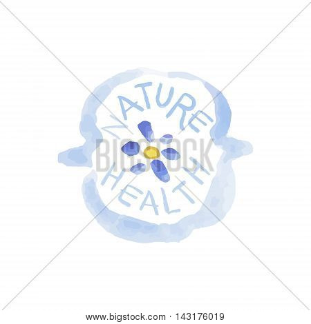 Nature Health Beauty Promo Sign Watercolor Stylized Hand Drawn Logo With Text On White Background