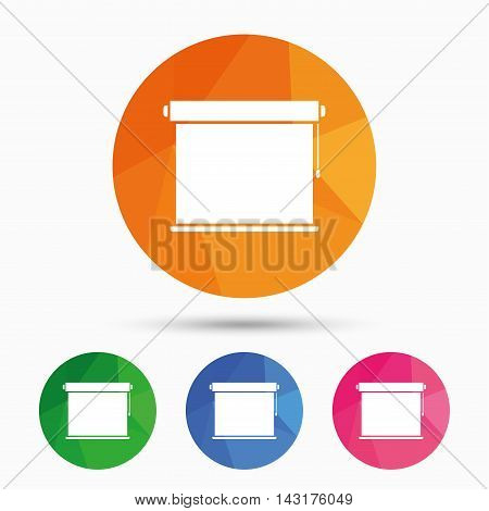 Louvers rolls sign icon. Window blinds or jalousie symbol. Triangular low poly button with flat icon. Vector