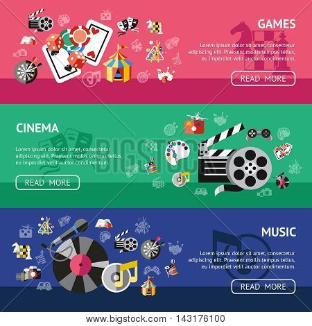 Three horizontal colored entertainment banner set with games cinema music descriptions vector illustration