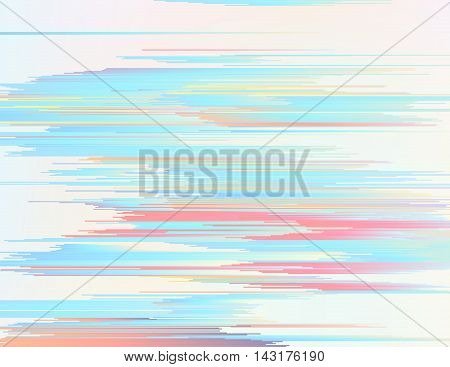 Abstract background illustration with sliced gradient stripes. Glitched soft cloudy structure. Flowing colorful shapes. Digital summer breeze. Element of design for web or print products.