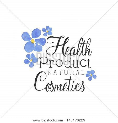 Health Product Beauty Promo Sign Watercolor Stylized Hand Drawn Logo With Text On White Background