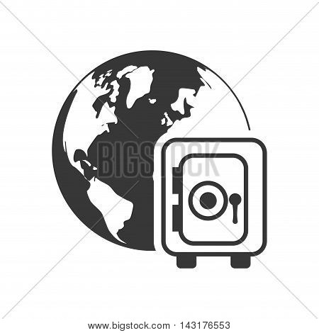planet strongbox money financial commerce icon. Flat and Isolated design. Vector illustration