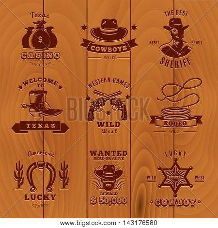 Dark vintage sheriff label set with cowboys and sheriff descriptions on wooden background vector illustration