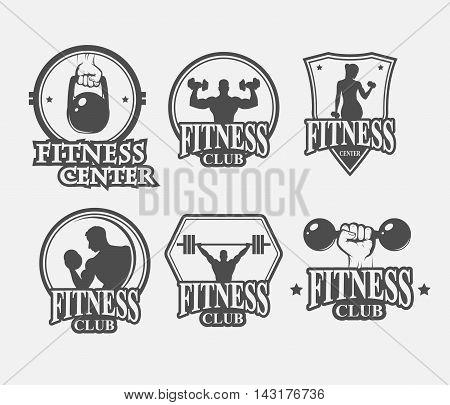 set of monochrome fitnes emblems labels badges logo and designed elements