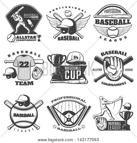 Baseball black white emblems of teams and tournaments with sports equipment cup player isolated vector illustration