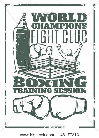 Boxing monochrome worn print with fighter punching bag ring and gloves on white background vector illustration