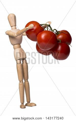 Figurine of a man holding his hands a bunch of tomatoes