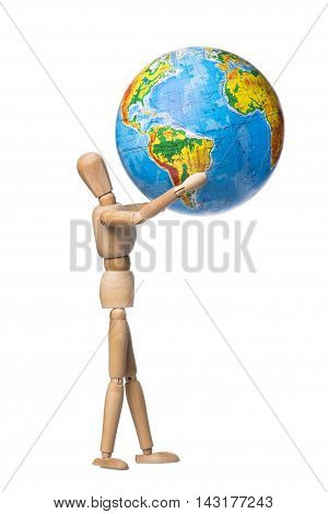Human figures holding hands Globe on a white background