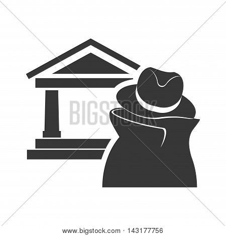 thief bank money financial commerce icon. Flat and Isolated design. Vector illustration