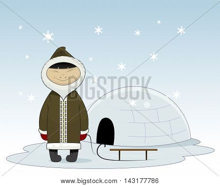 Cartoon eskimo with sleigh and yurt behind. Eskimo clothes human and alaska eskimo native northern people. Funny nationality traditional chukchi character. Layered vector
