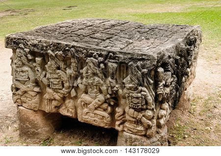 Central America Honduras Mayan city ruins in Copan. The picture presents detail of the Altar Q a rectangular stone altar with carved portraits of the first 16 of Copan's rulers