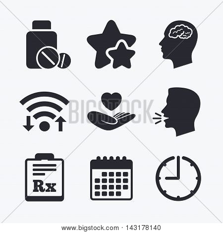 Medicine icons. Medical tablets bottle, head with brain, prescription Rx signs. Pharmacy or medicine symbol. Hand holds heart. Wifi internet, favorite stars, calendar and clock. Talking head. Vector
