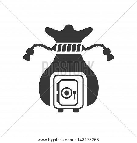 strongbox money bag financial commerce icon. Flat and Isolated design. Vector illustration