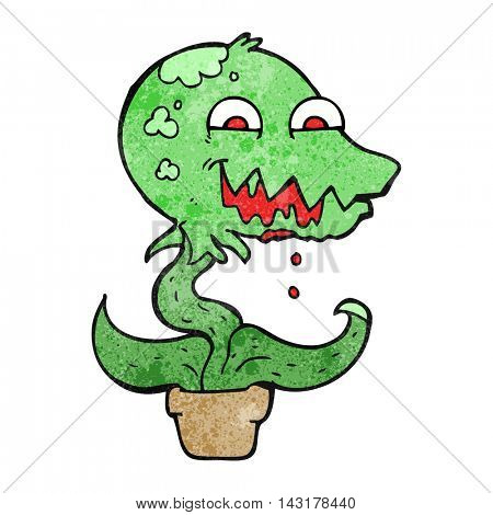 freehand drawn texture cartoon monster plant