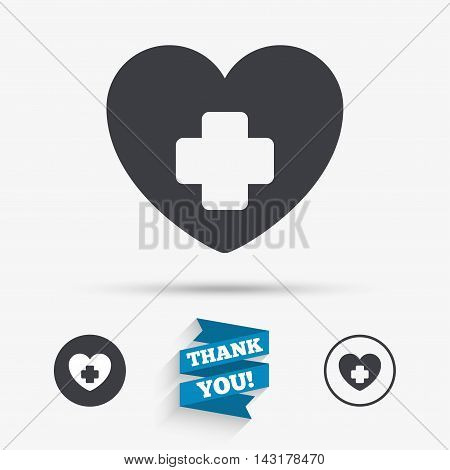 Medical heart sign icon. Cross symbol. Flat icons. Buttons with icons. Thank you ribbon. Vector
