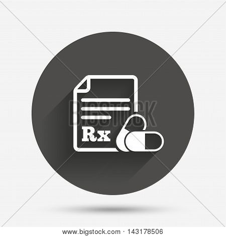 Medical prescription Rx sign icon. Pharmacy or medicine symbol. With two pills. Circle flat button with shadow. Vector