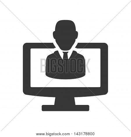 businessman computer silhouette necktie icon. Flat and Isolated design. Vector illustration