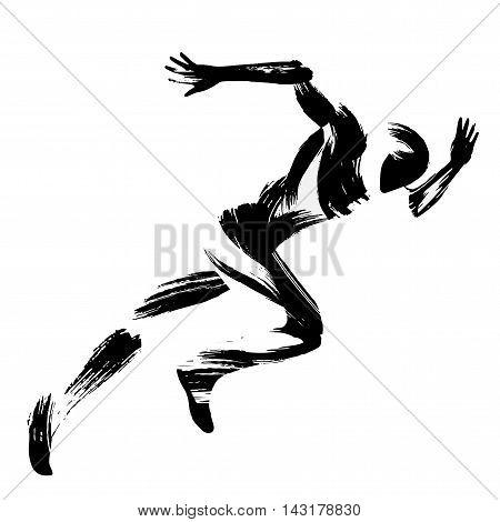 Trendy stylized illustration movement, running man, chinese and japanese ink brush