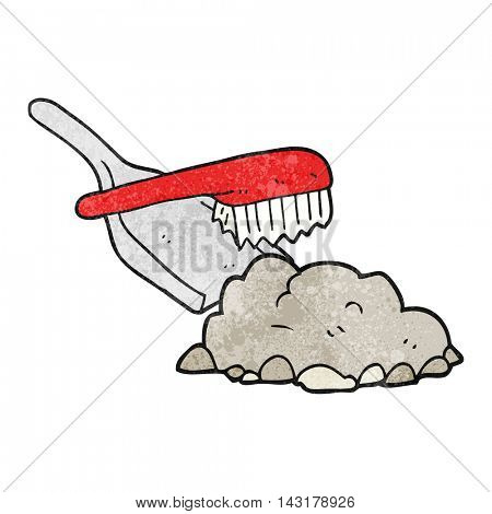 freehand drawn texture cartoon dust pan and brush sweeping up rubble