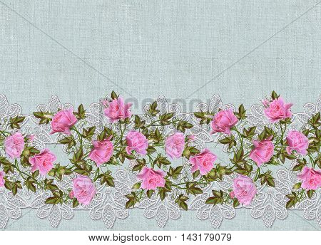 Pattern seamless. Old style. Fine weaving mosaic. Vintage background. Flower garland of pink and pastel roses on a background openwork lace. Horizontal border.