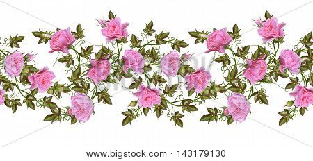 Pattern seamless. Old style. Fine weaving mosaic. Vintage background. Flower garland of pink and pastel roses. Horizontal border. Isolated on white background.