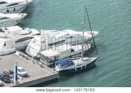 Alicante, Spain - SEPTEMBER 2015: Moored Yachts and boats in Alicante Marina