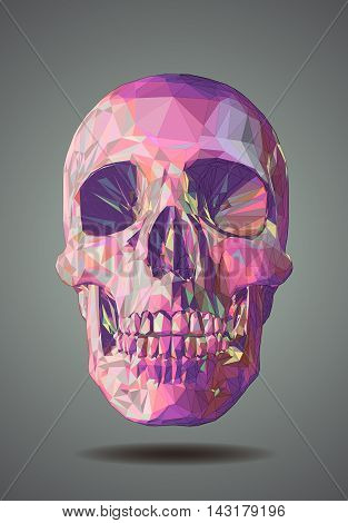 Low poly graphic pink skull on gray background