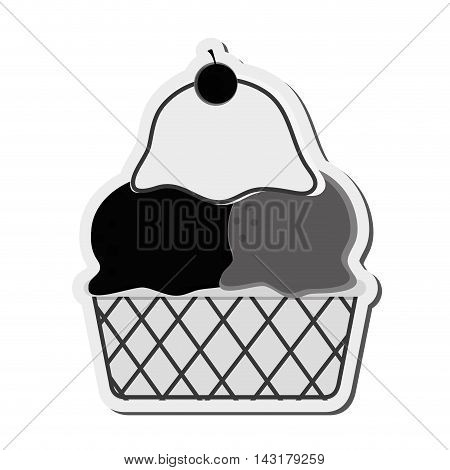 flat design ice cream cup icon vector illustration