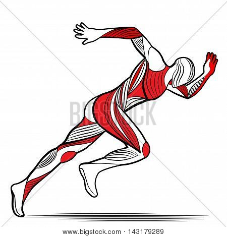 Trendy stylized illustration movement, running man, line vector silhouette of running man