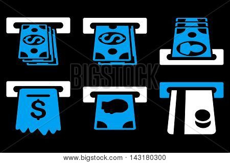 ATM Cashpoint vector icons. Pictogram style is bicolor blue and white flat icons with rounded angles on a black background.