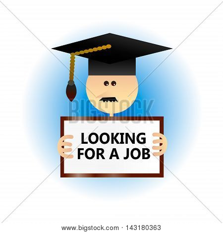 Concept of economic problem such as difficulties of getting a job after graduation. Flat style vector illustration.