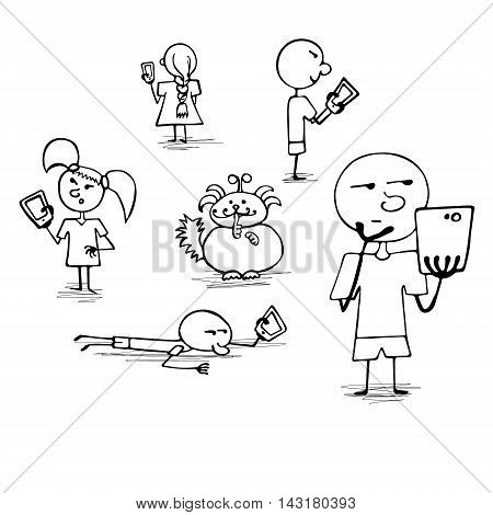 Crowd of people playing AR game on their smartphones. Augmented Reality. Searching and catching cute unusual animals. Run ans dust. Vector illustration hand drawn doodle style.