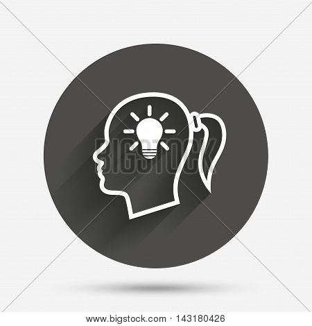 Head with lamp bulb sign icon. Female woman human head idea with pigtail symbol. Circle flat button with shadow. Vector