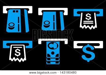 ATM Slot vector icons. Pictogram style is bicolor blue and white flat icons with rounded angles on a black background.